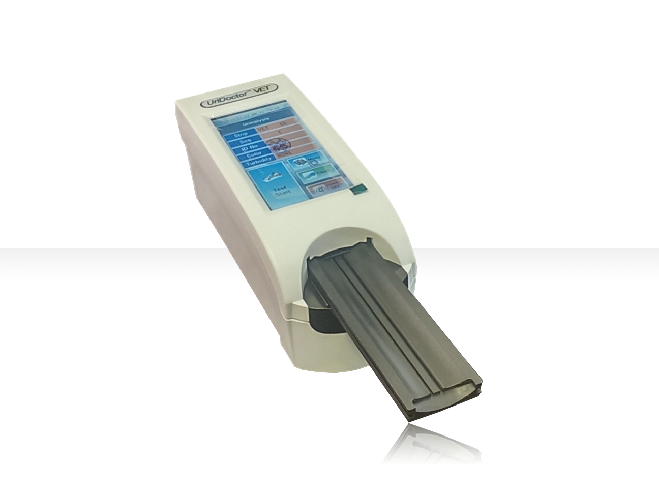 UriDoctor urine analyser for use with Health Mate Vet 10 / 11AC / 2AC Small and portable, upto 2000 results can be stored in the analysers memory to be easily exported to PC. Results available in 60 seconds (general mode) or for quick mode 30 seconds. The UriDoctor VET is a urine strip analysing device. The reader is semiautomatic, the forwarding, reading and evaluating are automated.