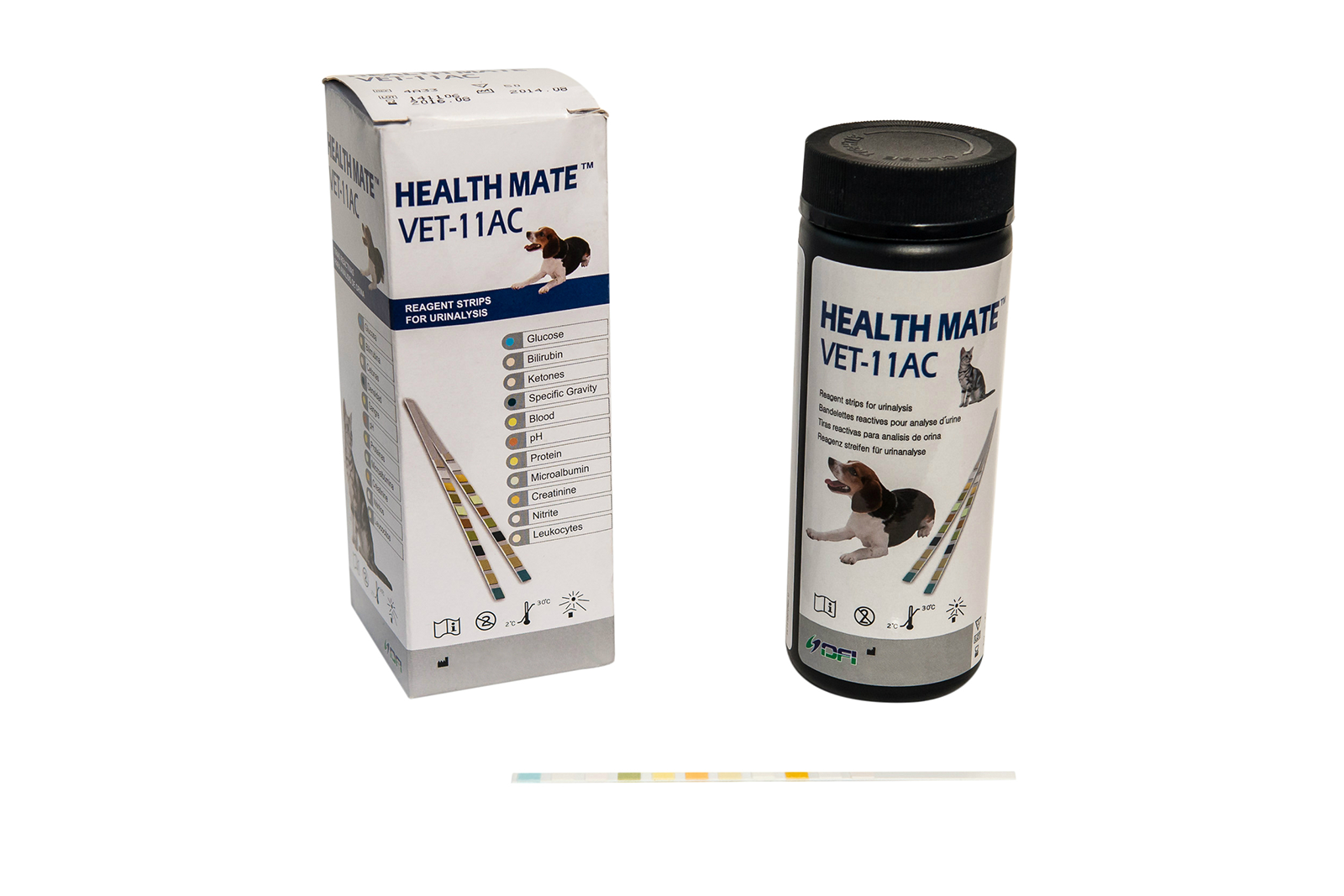 The Health Mate™ VET-11AC has Microalbumin and Creatinine tests for the diagnosis of early stage kidney problems in animals, with an ACR and PCR ratio table chart and interpretation supplied in the instructions, this can allow for frequent and quicker testing. 50 Test strips