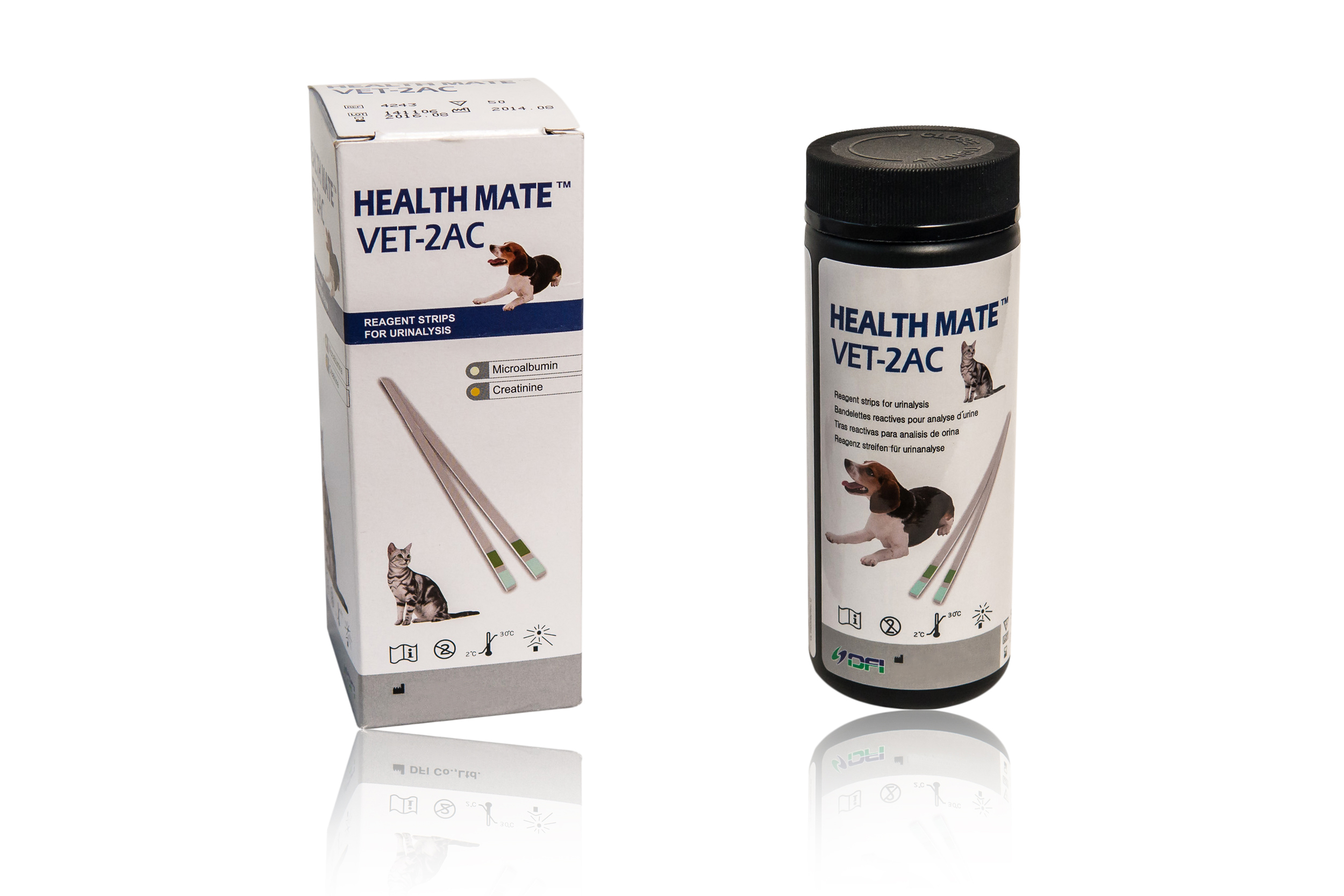 The HEALTH MATE™ VET-2AC is a two parameter urine test that allows for frequent and quicker testing, than waiting for lab results. Shelf life once opened: 6 Months Reading time: 60 seconds