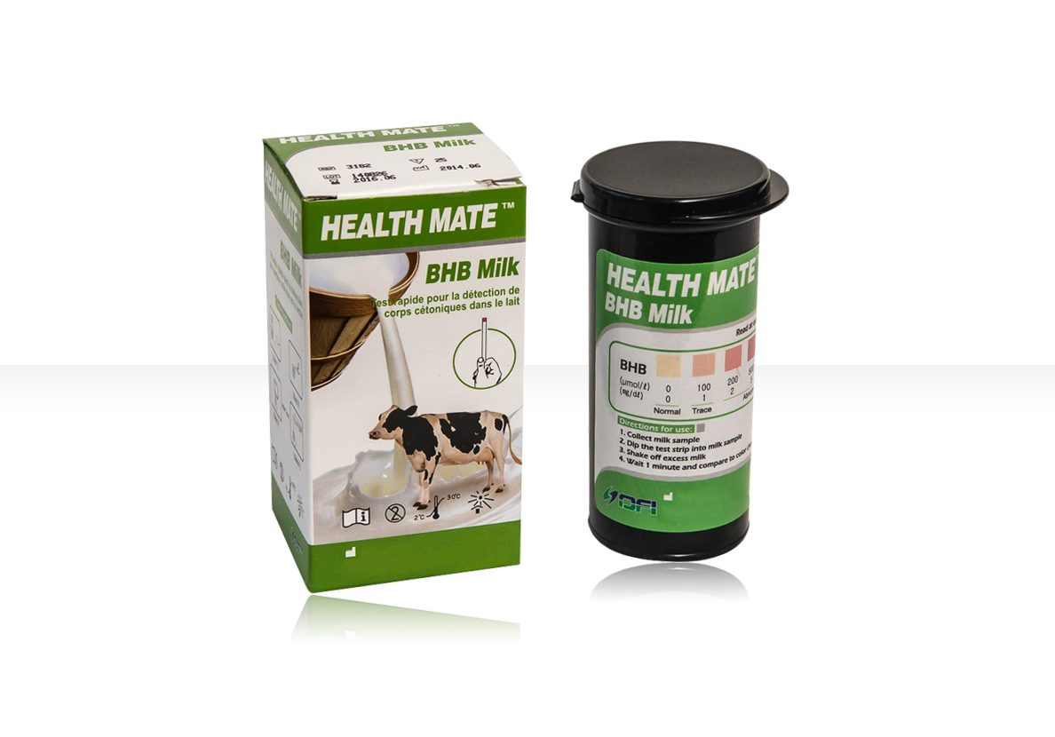 The Health Mate™ BHB Milk Test can quickly and easily measure the levels of Beta-hydroxybutyrate (BHB) in milk. BHB is one of the major ketone bodies formed during ketosis. Subclinical Ketosis, a condition where the cow uses fat instead of carbohydrate as a source of energy, can be detected by measuring the levels of ketones in the milk