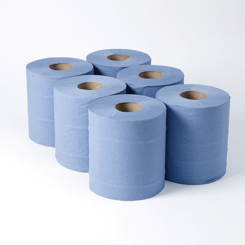 Colour: Blue. Quantity: 6 Rolls. 2 ply blue textured centrefeed rolls are suitable for busy all washroom & healthcare environments.