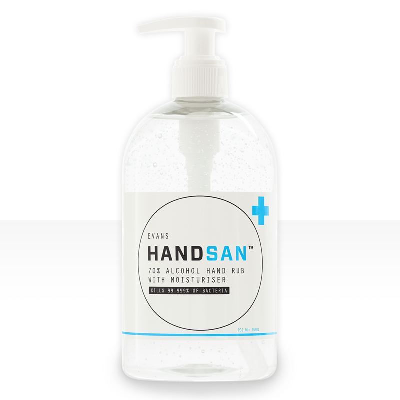 70% Alcohol Hand Rub with Moisturiser, evaporates without residue. Ideal in medical, veterinary and care establishments. Passes EN1276 & EN13727