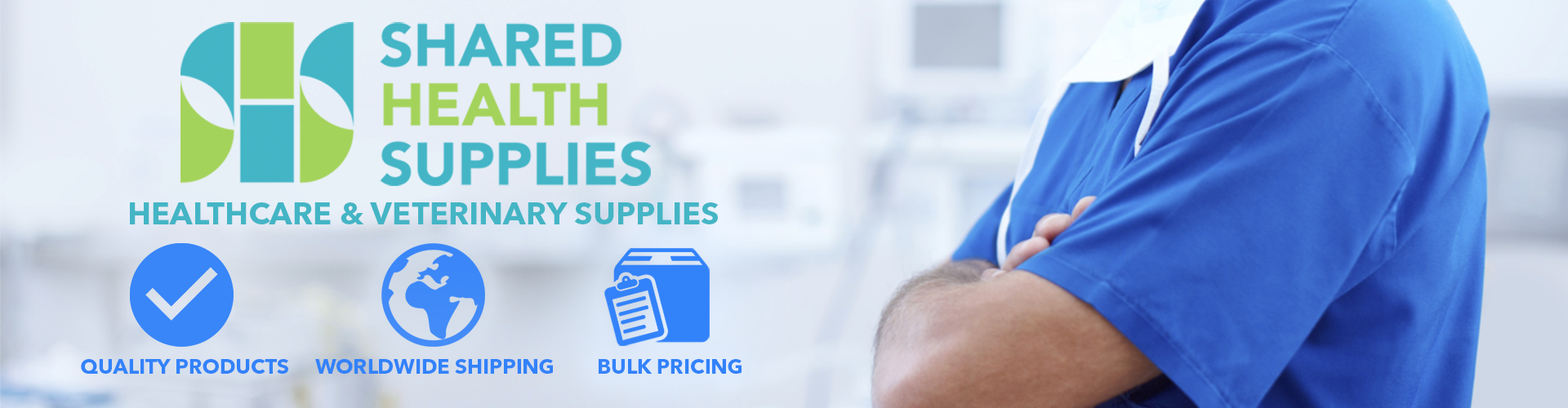 Shared Health Supplies Image for landing slider. Worldwide shipping, quality products, bulk pricing