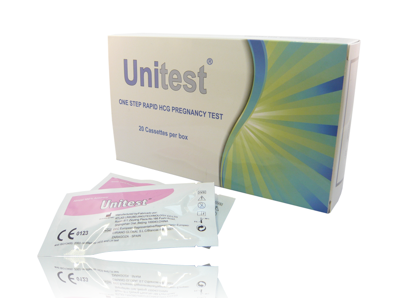 Fast, easy to use, qualitative immunoassay for detecting human Chrorionic Gonadotropin (hCG) in urine 20 x One step pregnancy test cassettes with pipette Individually packed and sterile 99.5% accuracy 25mlU/ ml Sensitivity Test as early as the day after the first missed period Positive results in as little as 40 seconds, confirmation of negative in just 5 minutes